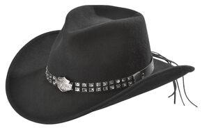 Harley Davidson Logo Concho Bend-A-Brim Wool Felt Crushable Cowboy Hat, Black, hi-res