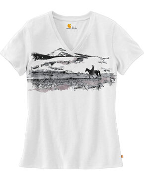 Carhartt Women's Wellton Short Sleeve V-Neck Graphic T-Shirt , White, hi-res