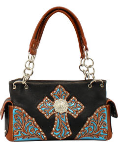 Blazin Roxx Women's Glitter Embossed Cross Satchel, , hi-res
