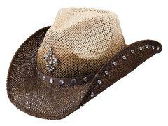 Peter Grimm Country Jazz Fleur-de-lis Brown Straw Cowgirl Hat, , hi-res