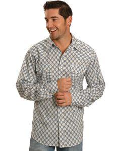 Tin Haul Blue Ikat Print Long Sleeve Western Shirt, , hi-res