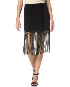 Miss Me Black Fringe Skirt, , hi-res