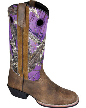 Smoky Mountain Tupelo Camo Purple Cowgirl Boots - Square Toe, Brown, hi-res