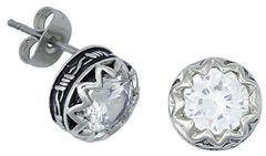 Montana Silversmiths Barbed Wire Rhinestone Post Earrings, , hi-res