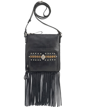 American West Moon Dancer Black Leather Crossbody Bag, Black, hi-res