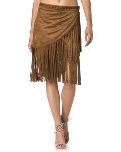 Miss Me Brown Fringe Skirt , , hi-res