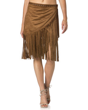 Miss Me Brown Fringe Skirt , Brown, hi-res