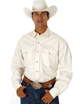 Roper Men's White Denim Long Sleeve Western Shirt, Natural, hi-res