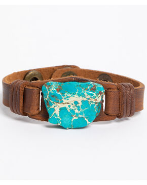 Jewelry Junkie Women's Turquoise Chunk Narrow Leather Cuff , Turquoise, hi-res