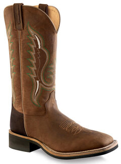 Old West Men's Brown Cowboy Boots - Square Toe , , hi-res