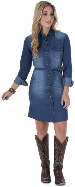 Wrangler Long Sleeve Dark Denim Shirt Dress, , hi-res