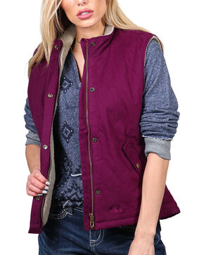 Polar King Women's Berber Lined Vest, Purple, hi-res
