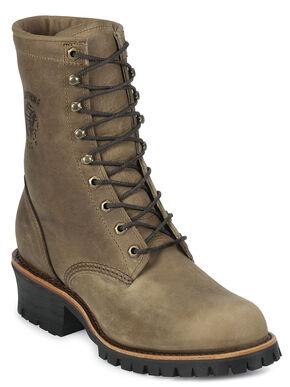 "Chippewa Classic 8"" Logger Boots - Steel Toe, Tan, hi-res"