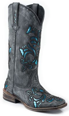 Roper Shiny Turquoise Leather Inlay Cowgirl Boots - Square Toe, , hi-res