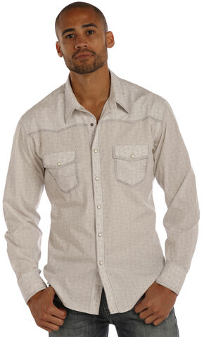 Rock & Roll Cowboy Men's Grey Crinkle Poplin Medallion Print Shirt, Grey, hi-res