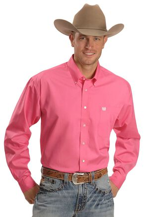 Cinch Solid Weave Shirt, Pink, hi-res