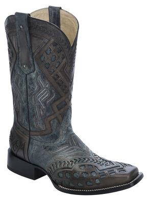 Corral Overlay Cowboy Boots - Square Toe, Black, hi-res