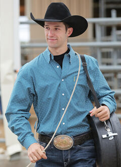 Cinch Men's Blue and White Print Modern Fit Western Shirt, , hi-res