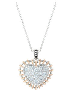 Montana Silversmiths Women's Silver Woven Rose Gold Heart Necklace , , hi-res