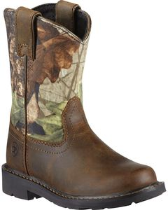 Ariat Youth Boys' Sierra Distressed Cowboy Boots - Round Toe, , hi-res