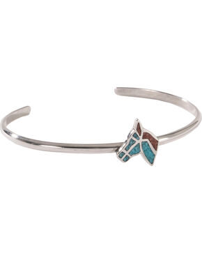 Silver Legends Women's Sterling Silver & Turquoise Horse Head Bracelet, Turquoise, hi-res