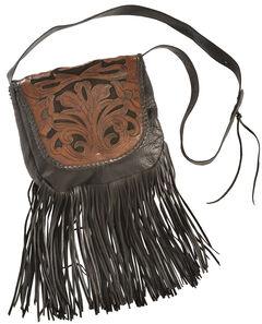 Kobler Leather Black Hand-Tooled Antique Finish Bag, , hi-res