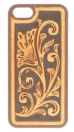 Floral Tooled Leather iPhone 5 Case, Tan, hi-res
