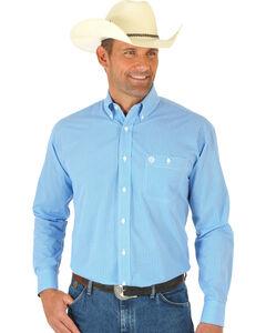 Wrangler George Strait Blue Print Poplin Western Shirt, Multi, hi-res