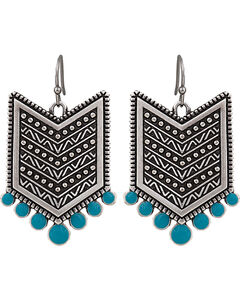 Wrangler Rock 47 Points of Aztec Chevron Turquoise Earrings, , hi-res