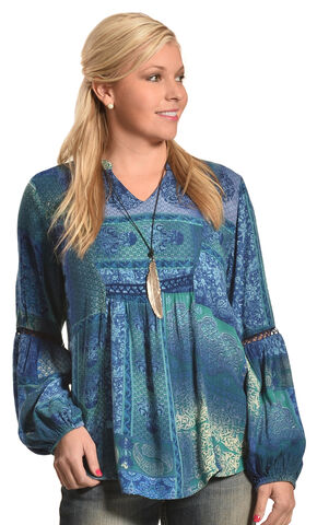 Tantrums Women's Teal Patch Print Crochet Tunic , Teal, hi-res