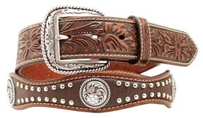 Ariat Floral Embossed Scalloped Concho Studded Leather Belt, Brown, hi-res