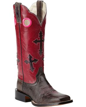 Ariat Ranchero Cross Cowgirl Boots - Square Toe, Charcoal Grey, hi-res