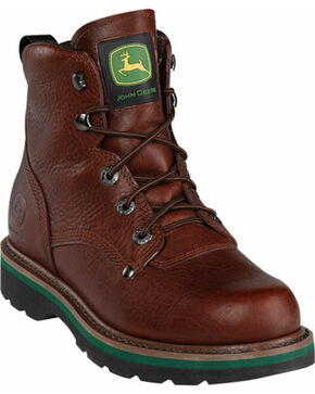 "John Deere Men's 6"" Lace-Up Work Boots - Steel Toe, Mesquite, hi-res"