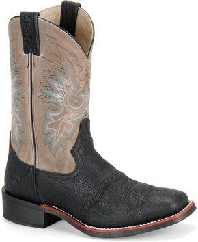 Double H Men's Saddle Vamp Western Boots - Square Toe, Black, hi-res