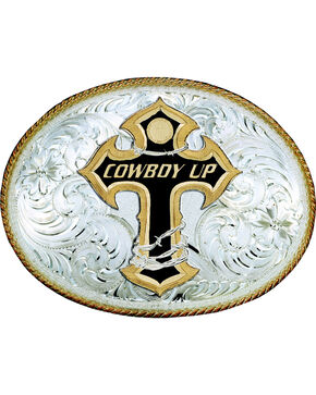 "Montana Silversmiths ""Cowboy Up"" Cross Engraved Oval Buckle, Silver, hi-res"