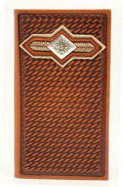 Nocona Basketweave Diamond Rodeo Wallet, Tan, hi-res