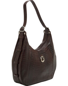 Designer Concealed Carry Brown Gator Print Santa Fe Hobo Bag, , hi-res
