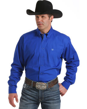Cinch Men's Royal Blue Long Sleeve Western Shirt, Royal, hi-res