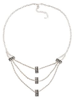 Montana Silversmiths Crystal Ring Tiered Chain Necklace, , hi-res