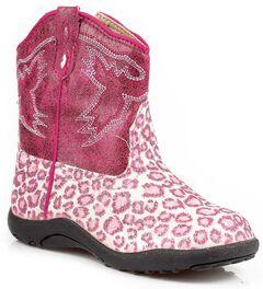 Roper Infant Girls' Glittery Leopard Print Cowgirl Boots, , hi-res
