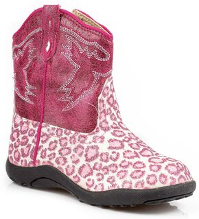 Roper Infant Girls' Glittery Leopard Print Cowgirl Boots, Pink, hi-res