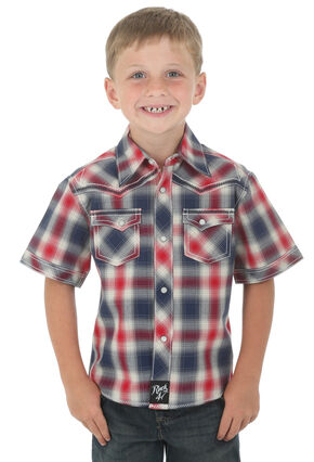 Wrangler Rock 47 Boys' Short Sleeve Shirt with Embroidered Yoke, Red Plaid, hi-res