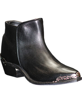 Abilene Women's Black Demi Zipper Boots - Snip Toe , Black, hi-res