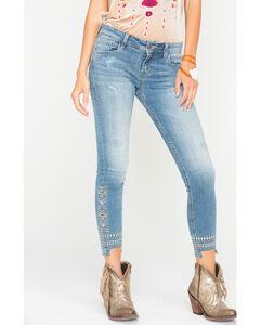 Miss Me Women's Distressed Hem Ankle Jeans - Skinny , , hi-res