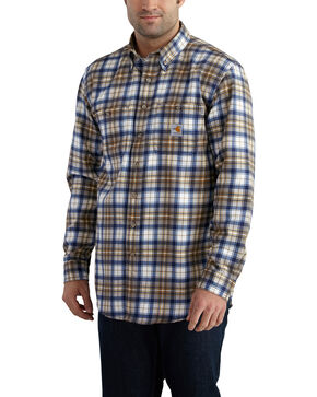 Carhartt Men's Flame Resistant Blue Brown Classic Plaid Shirt, Med Brown, hi-res