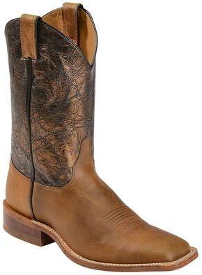 Justin Bent Rail Damiana Metallic Cowboy Boots - Square Toe, Tan, hi-res