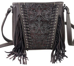 Montana West Trinity Ranch Coffee Tooled Design Concealed Handgun Collection Messenger Bag, , hi-res