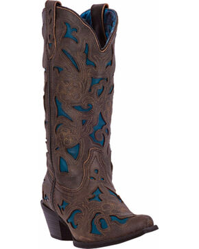 Laredo Sharona Cowgirl Boots - Snip Toe, Charcoal Grey, hi-res