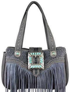 Montana West Trinity Ranch Grey Fringe Design Handbag, , hi-res