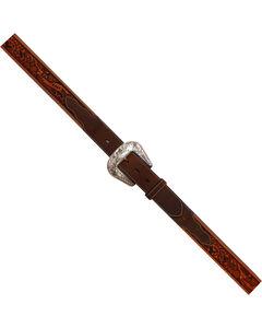 Roper Men's Brown Hand-Tooled Floral Silver Buckle Belt , , hi-res